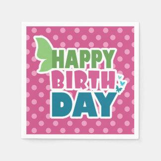 Pink polka dots happy birthday paper napkins disposable napkin