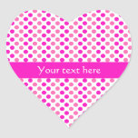 Pink Polka Dots Heart Stickers