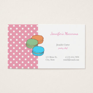 Pink Polka Dots Macaron CUTE KAWAII Macarons Business Card