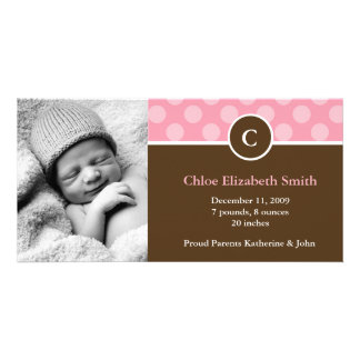 Pink Polka Dots Monogram Baby Announcements Card