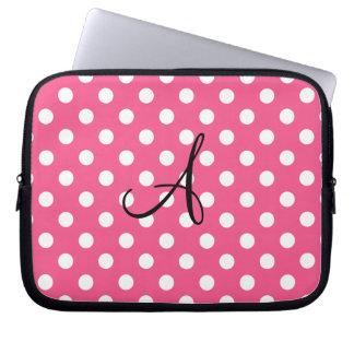 Pink polka dots monogram computer sleeve