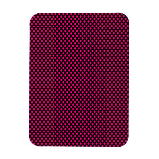 Pink Polka Dots on Black Rectangular Photo Magnet