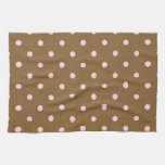 Pink Polka Dots On Brown Background Hand Towels