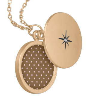 Pink Polka Dots On Brown Background Necklace
