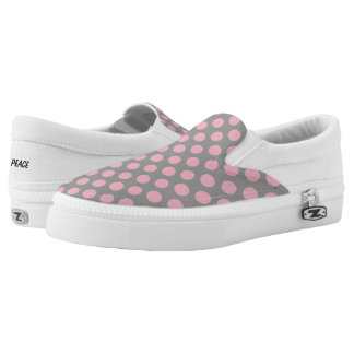Pink Polka Dots on Grey Slip On Canvas Shoes