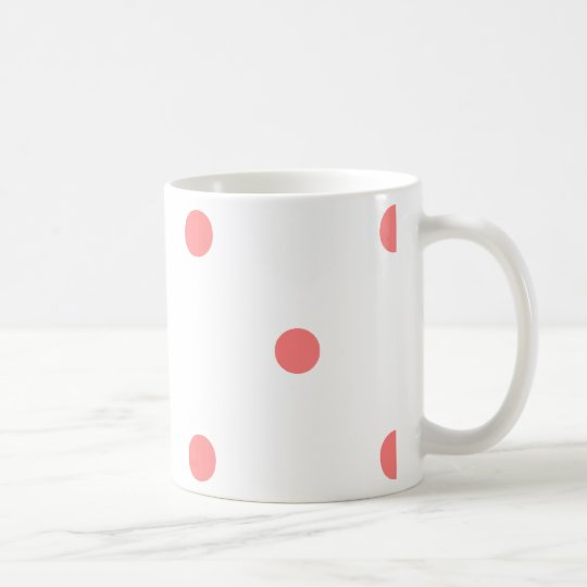 Pink Polka Dots on White Coffee Mug