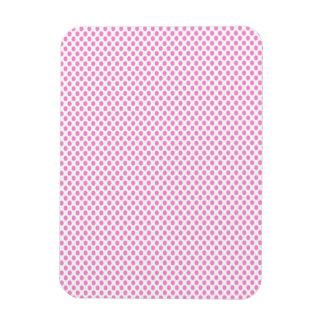 Pink Polka Dots on White Rectangular Photo Magnet