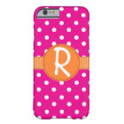 Pink Polka Dots, Orange Ribbon, iPhone 6 Case