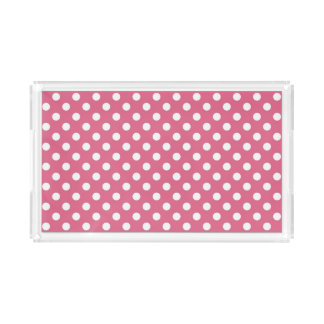 Pink Polka Dots Pattern Acrylic Tray