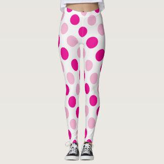 Pink polka dots pattern leggings