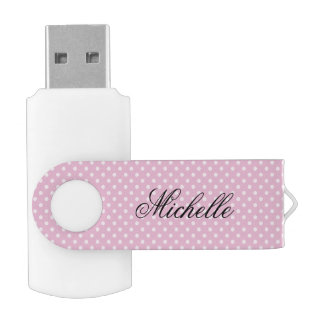 Pink polka dots pattern swivel USB flash drive