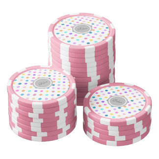 Pink Polka dots poker chips confetti colors