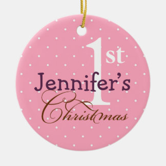 Pink  polka dots purple name baby first holiday christmas ornament