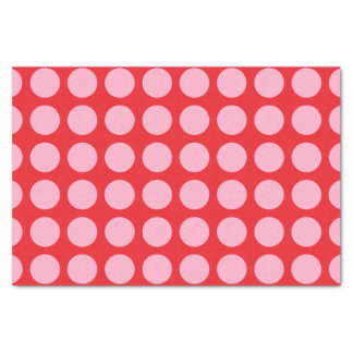 Pink Polka Dots Red Tissue Paper