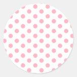 Pink Polka Dots Round Sticker