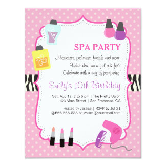 Pink Polka Dots, Spa Birthday Party Invitation