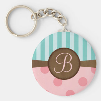 Pink polka dots teal stripes | monogram | custom basic round button key ring