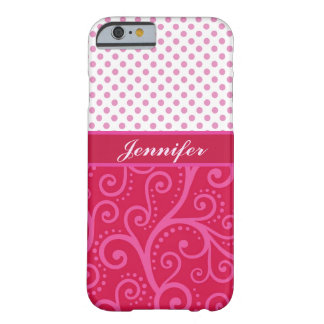 Pink polka dots, tendrils, circles, personalized barely there iPhone 6 case