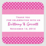 Pink Polka Dots Thank You Double Lace Wedding V24 Square Stickers