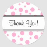 Pink Polka Dots-Thank You Round Stickers