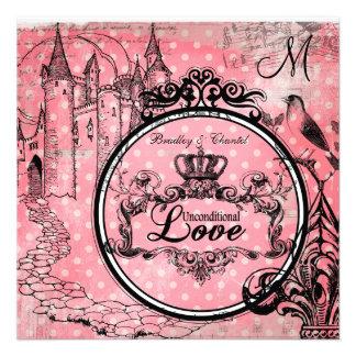 Pink Polka Dots Unconditional Love Wedding Invite