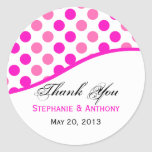 Pink Polka Dots Wedding Thank You Round Stickers
