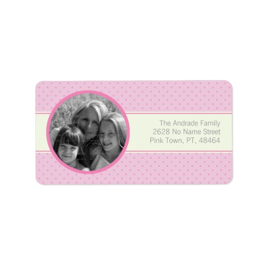 Pink Polka Dots White Stripe Custom Photo Template Address Label