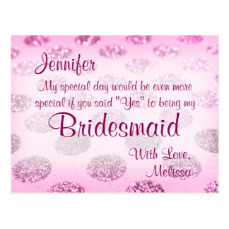 Pink Polka Dots | Will You Be My Bridesmaid? Postcard