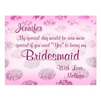 Pink Polka Dots | Will You Be My Bridesmaid? Postcard