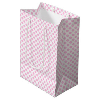 Pink Polka Dots with Customizable Background Medium Gift Bag