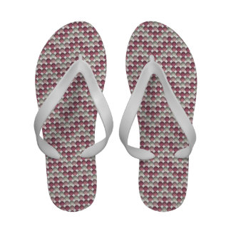 Pink Polka Dots Zig Zag Pattern Flip Flops