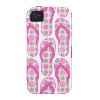 Pink polka dotted flip flop design Case-Mate iPhone 4 cases
