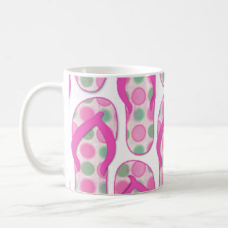 Pink polka dotted flip flop design coffee mug