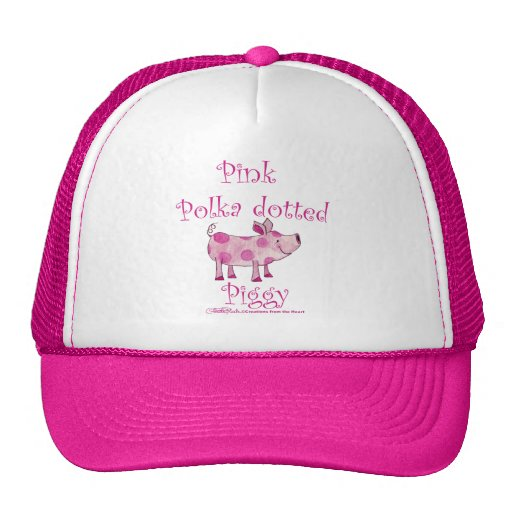 Pink Polka dotted Piggy Mesh Hat
