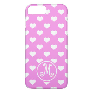 Pink Polka Heart Monogram iPhone 8 Plus/7 Plus Case