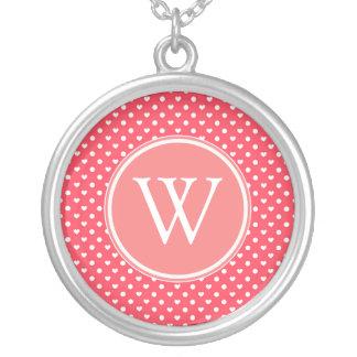 Pink Polka hearts Custom Necklace