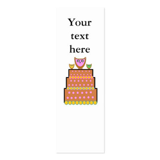 Pink polkadot owl cake business card