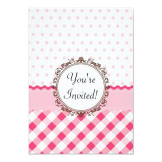 Pink Polkadots, Checks and Stripes with Monogram 13 Cm X 18 Cm Invitation Card