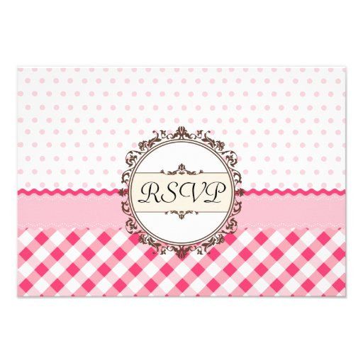 Pink Polkadots, Checks and Stripes with Monogram Personalized Invitation