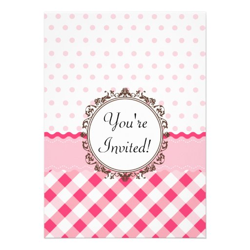 Pink Polkadots, Checks and Stripes with Monogram Personalized Announcements
