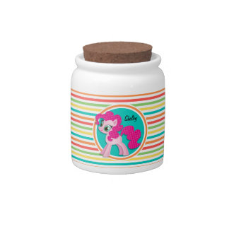 Pink Pony; Bright Rainbow Stripes Candy Dishes