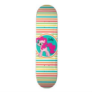 Pink Pony Bright Rainbow Stripes Skateboards