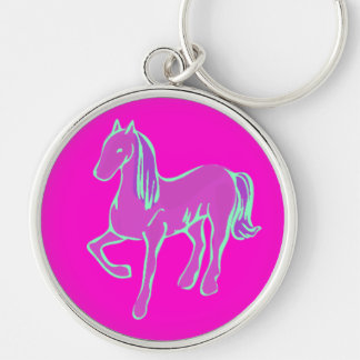 Pink Pony Silver-Colored Round Key Ring