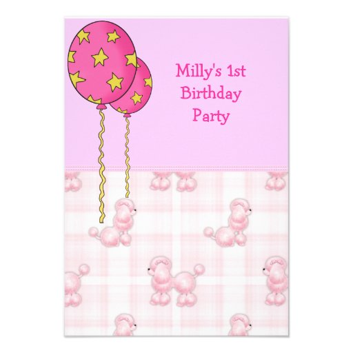 Pink Poodle 1st Birthday Party Balloons Announcement