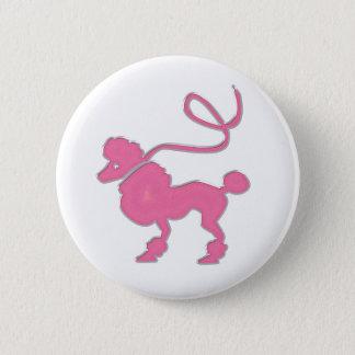 Pink Poodle 6 Cm Round Badge