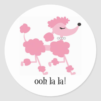 pink poodle classic round sticker