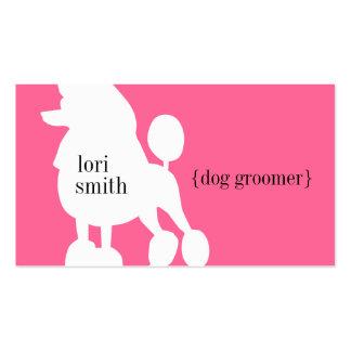 Pink Poodle Dog Groomer Business Card