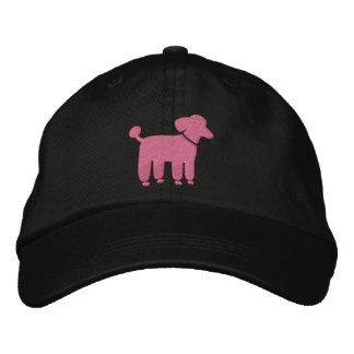 Pink Poodle Graphic Embroidered Baseball Caps