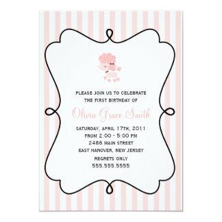 Pink Poodle in Paris Birthday 13 Cm X 18 Cm Invitation Card