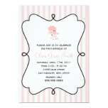 Pink Poodle in Paris Birthday 5x7 Paper Invitation Card